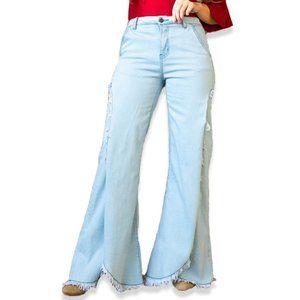 Plus Size Slit Wide Leg Light Wash Denim Jeans